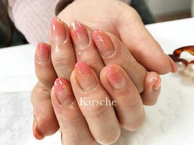 ピンクとオレンジの春ネイル